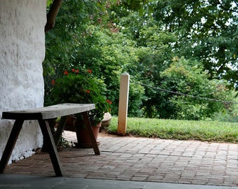 Soothing Summer Scene Photograph - Wooden Garden View Bench - Verdant Green - Cool White Stone Wall - Restful Documentary Photography