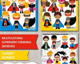 Superhero clip art / Multicultural superhero standing clipart bundle / african american kids, books / commercial use graphic