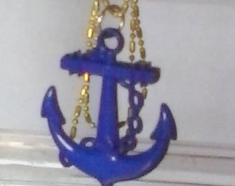 Blue Patriotic Anchor Necklace