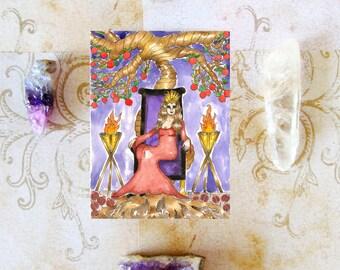 Fantasy Art Greek Goddess Persephone Prayer Card Goddess Art Occult Dark Goddess Underworld Pagan Art Divine Sacred Feminine Spiritual Art
