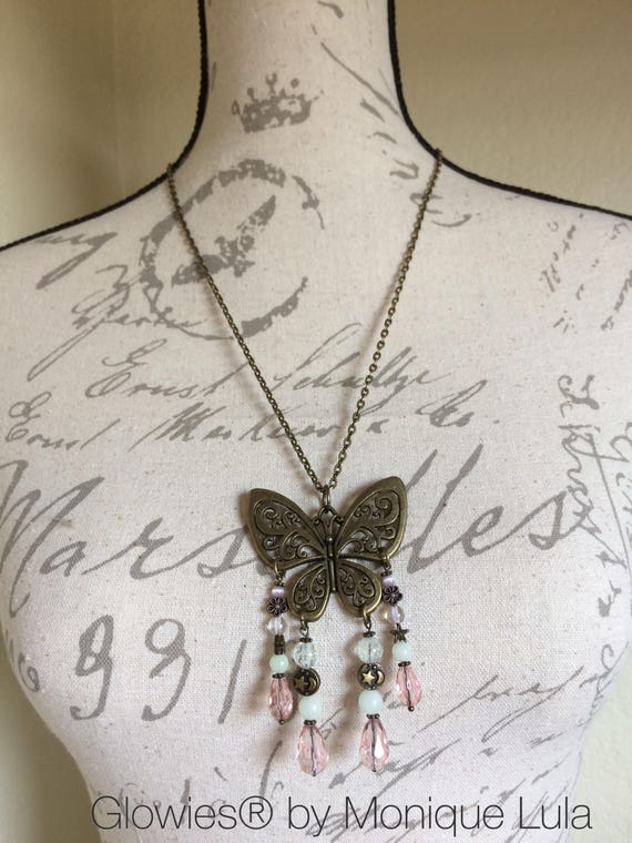 Glowing Beaded Galaxy Butterfly Galaxy Boho Chic Moon and Stars Pink Crystal Teardrop Handmade Statement Necklace Antiqued Brass