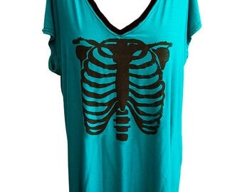 Ribcage print oversize dress top | skeleton shirt | ribcage shirt oversize long shirt