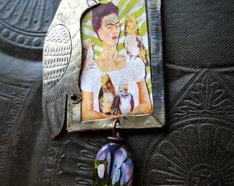 Pendant, Frida Kahlo, Parrots, Me and My Parrot, Folklore, Mexican Art, Tin Jewelry, Vintage Chain, Rustic, Artisan Made, Beaded Necklace