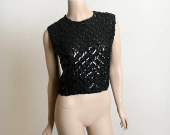 Vintage 1960s Sequin Top - Black Sequined Formal Evening Sheer Cocktail Party Blouse Top - Fashioned by Gregory - Button Back - Small Medium