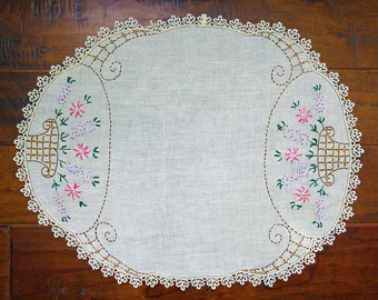 Large Vintage Embroidered Oval Table Linen, Flower Basket, Lace Edge, Border...Purple, Pink, Brown...Centerpiece Doily, Sewing, Craft Supply