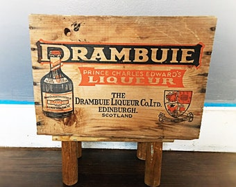 Wooden Drambuie Crate, Vintage Wood Crate, Old Crate, Alcohol Crate, Old Wooden Box, Shipping Box