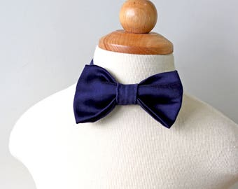 Midnight Navy Bow Tie, Navy Bow Tie, Boys Bow Tie, Toddler Bow Tie, Baby Bow Tie, Cotton Bow Tie, Ring Bearer Bow Tie, Fall Holiday Bow Tie