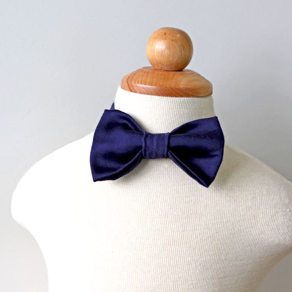 Midnight Navy Cotton Bow Tie, Boy, Toddler, Baby, Ring Bearer, Holiday
