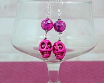 PINK SKULLS - Fuscia Pink Skulls and Bead Earrings