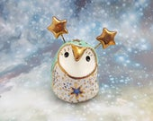 Ceramic Owl Figurine with Gold Stars