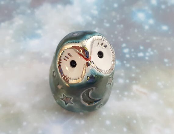 RESERVED Miniature Owl Sculpture with Stars