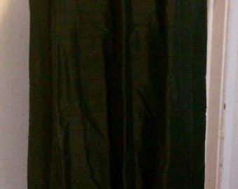Vintage HARARI Black Dupioni Silk Skirt, Size Medium