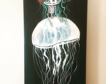 Sugar Skull Original Painting Cute Dead Jellyfish Skeleton Wall Art  12 x 24