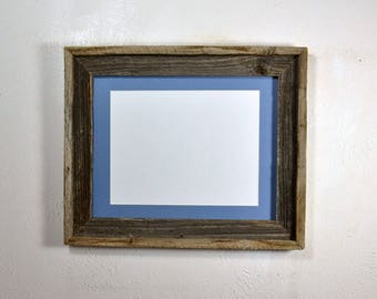Picture frame 8.5x11 light blue mat without mat 11x14 from reclaimed wood complete with glass