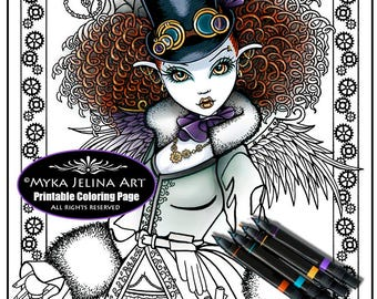 Temple - Steampunk Fairy - Digital Download - Coloring Page - Myka Jelina - Victorian Vampire - Curly Hair - Top Hat