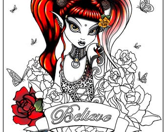 Terra Rose - Gothic Fairy - Digital Download - Coloring Page - Myka Jelina - Roses - Believe Fae - Tattoos - Butterflies