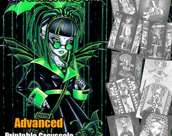 Set 5 - ADVANCED Grayscale Printable Coloring Book - Myka Jelina - Sci fi - Cyber Goth - Digital Download - Androids - 10 Pages - Fairy Art