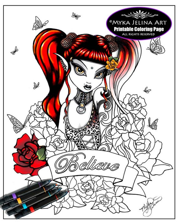 Terra rose gothic fairy digital download coloring page for Myka jelina coloring pages