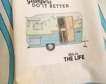 Glamping Camping Kitchen dish towel Glamper Shabby Prairie Farmhouse cotton  teal Aqua stripes ECS RDT FVGTEAM