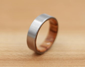 Titanium Ring Lined with Olivewood - Wedding Band - Unique Wedding Ring - Titanium Wedding Band