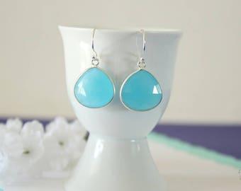 Aqua Blue Gemstone Silver Earrings, or Gold, Chalcedony, Blue Green Earrings, Small, Tear Drop Gemstone, Heart Shape