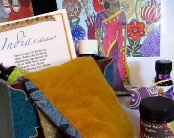 India Collection spa kit, bath box gift, perfume, bath salts, eye pillow, meditation oil, skin balm