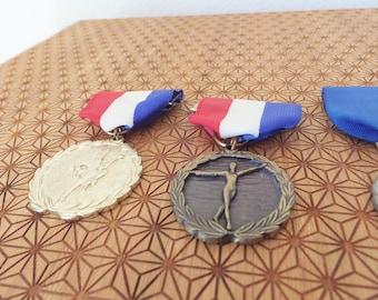 Vintage Medal Baton Twirling Award Military Medal Red White Blue Brooch Dangling Brooch Vintage Sports Award Medal Majorette Medal Sport Pin