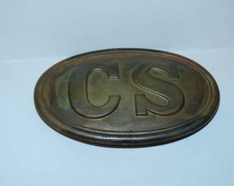 Confederate States of America Army Belt Buckle 1970's  reproduction of CSA Belt Buckle, Civil War, Rebel Soldier, Military Militia Replica