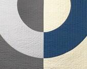 SALE Modern Quilt - Big Ring Prussian Blue- Throw, Wall, Crib