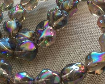 Vintage Glass Beads (12x10mm)(6) Stunning Green/Gray AB Beads