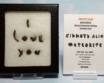 Meteorite I LOVE YOU Sikhote Alin Extraterrestrial Meteorite Writing Display Genuine Outer Space Rocks Fell 1947 Russia Souvenir Card Set