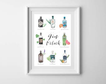 A4 Gin print - gift for gin lover - Gin gift - Gift for gin lover - Botanicals - Kitchen print - Hendricks