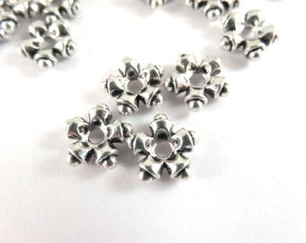 25 Silver Star Spacer Beads 5 Petal Flower Disk Spacers Tibetan Style Antique LF/CF 7.5mm - 25 pc - M7090-AS25