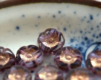 NEW! Lavender Swirls - Premium Czech Glass Beads, Transparent Clear, Purple, White Swirl, Metallic Bronze, Hawaiian Flowers 12mm - Pc 6