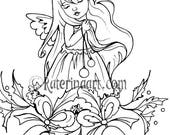 Christmas Bells Little Angel/Fairy Coloring Page  Instant Download Digital Stamp Fantasy art katerinaart