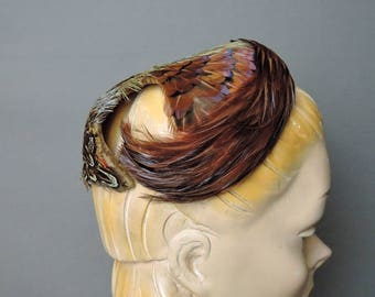 Vintage Feather Hat, 1950s Pheasant Feather Cap, fits 21 inch head
