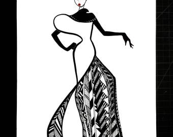 Graphic Fashion Lady - Black and Whit Fashion Illustration
