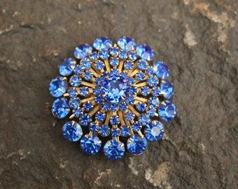 Brooch, Vintage Rhinestone Brooch, Blue Rhinestone Brooch, Round Brooch, Vintage Jewelry, Vintage Brooch, Royal Blue Brooch