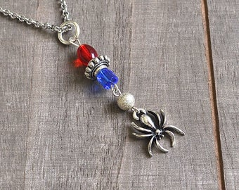 Silver Spider Necklace Spidergirl Style Blue & Red Glass Beads Halloween Gothic Spidergirl Vampire Jewelry Comic Book Colors