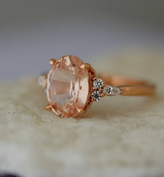 Apricot sapphire engagement ring. Peach sapphire 3.24ct oval diamond ring 14k Rose gold. Campari Engagement ring by  Eidelprecious