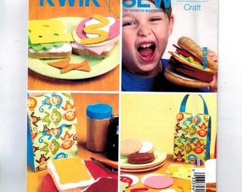Craft Sewing Pattern Kwik Sew K3964 3964 Kids Craft Fake Play Food Faux Felt Sandwich Bread Lunchbox Hamburger Condiments  UNCUT