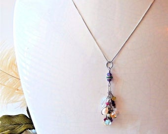 One of a Kind Sterling Silver Multi Gemstone and Crystal Necklace