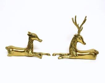 Pair of Ornate Reclining Brass Deer Figurines