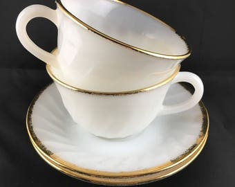 Fire King milk white glass tea cups & saucers gold rims