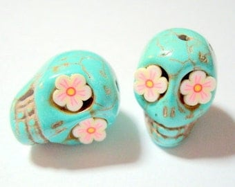 Turquoise Howlite Skull 18mm Beads with Cherry Blossom Eyes