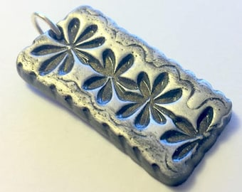 Handmade Black and Silver Stamped Flower Chain Polymer Clay Pendant