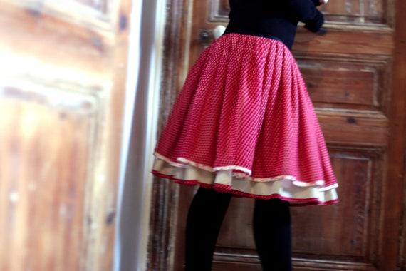 Skirt Retro Rockabilly pink - Ecru skirt Fifties pink original Creation. Pleated skirt