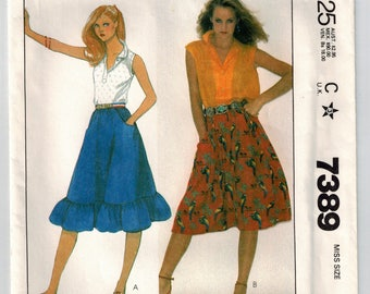 Vintage 80's Misses Skirt Sewing Pattern Size Medium 14/16 Flared Pull On Skirt Inset Pockets Elastic Waist Hemline Ruffle Option Uncut
