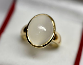 AAA White cats eye Moonstone Cabochon 7.73 carats  Gem Quality 15 x 11mm in 14K Yellow gold ring, also available in Rose or White gold 1103