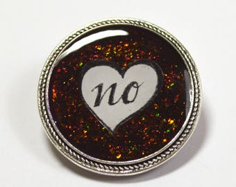 Just No Feminist Multichrome Glitter Brooch
